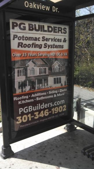 Bus Stop Advertisement PG Builders and Potomac Services & Roofing Systems