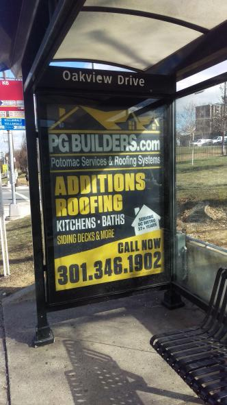 P.G. Builders, Inc. Bus Stop Advertisement